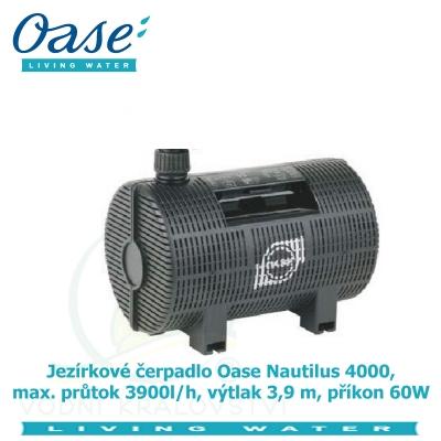 Jezírkové čerpadlo Oase Nautilus 4000, max. průtok 3900l/h, výtlak 3,9 m, příkon 60W,