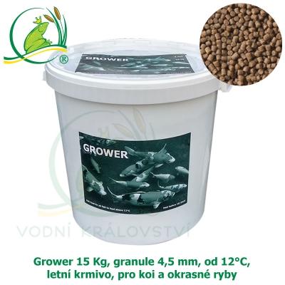 Grower 15 Kg, granule 4,5 mm, od 12°C, letní krmivo, pro koi a okrasné ryby