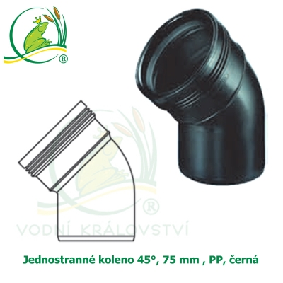 Jednostranné koleno 45°, 75 mm , PP, černá