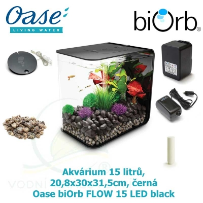 Akvárium 15 litrů, 20,8x30x31,5cm, černá - Oase biOrb FLOW 15 LED black