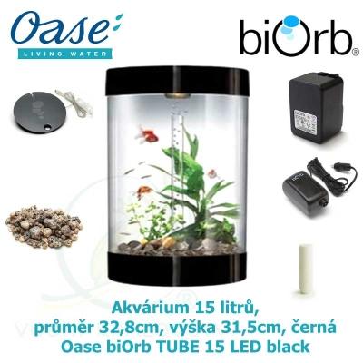 Akvárium 15 litrů, průměr 32,8cm, výška 31,5cm, černá - Oase biOrb TUBE 15 LED black