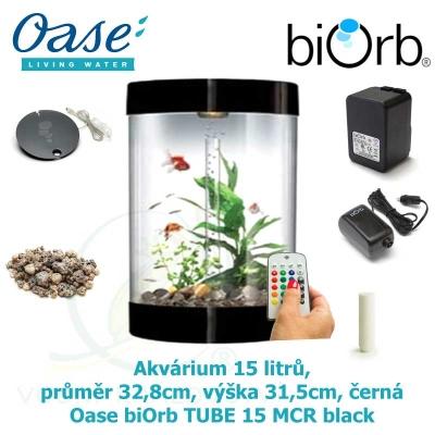 Akvárium 15 litrů, průměr 32,8cm, výška 31,5cm, černá - Oase biOrb TUBE 15 MCR black