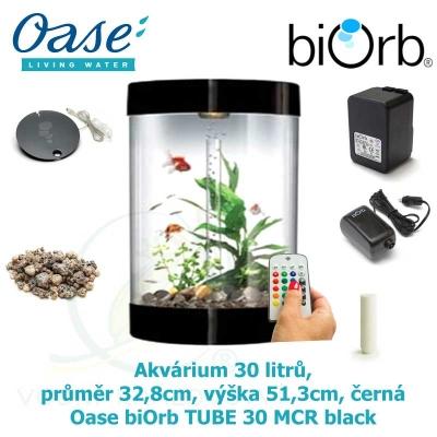 Akvárium 30 litrů, průměr 32,8cm, výška 51,3cm, černá - Oase biOrb TUBE 30 MCR black