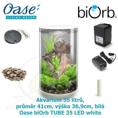 Oase biOrb TUBE 35 LED white - Akvárium 35 litrů, průměr 41cm, výška 36,9cm, bílá