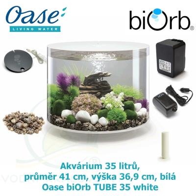 Oase biOrb TUBE 35 LED white - Akvárium 35 litrů, průměr 41 cm, výška 36,9 cm, bílá