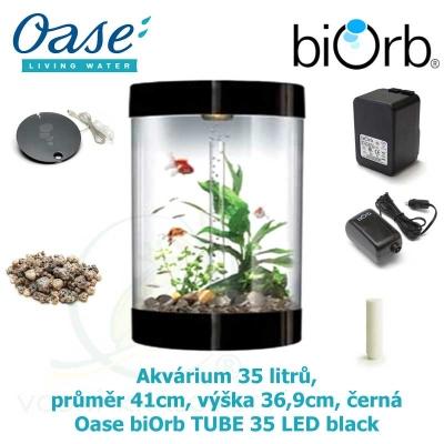 Akvárium 35 litrů, průměr 41cm, výška 36,9cm, černá - Oase biOrb TUBE 35 LED black