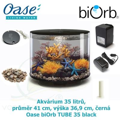 Akvárium 35 litrů, průměr 41 cm, výška 36,9 cm, černá - Oase biOrb TUBE 35 LED black
