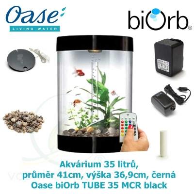 Akvárium 35 litrů, průměr 41cm, výška 36,9cm, černá - Oase biOrb TUBE 35 MCR black