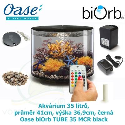 Akvárium 35 litrů, průměr 41 cm, výška 36,9 cm, černá - Oase biOrb TUBE 35 MCR black