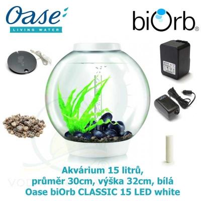 Oase biOrb CLASSIC 15 LED white - Akvárium 15 litrů, průměr 30cm, výška 32cm, bílá