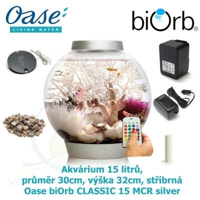 Akvárium 15 litrů, průměr 30cm, výška 32cm, stříbrná - Oase biOrb CLASSIC 15 MCR silver