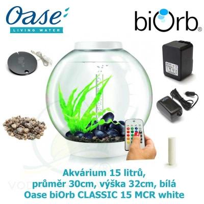 Oase biOrb CLASSIC 15 MCR white - Akvárium 15 litrů, průměr 30cm, výška 32cm, bílá