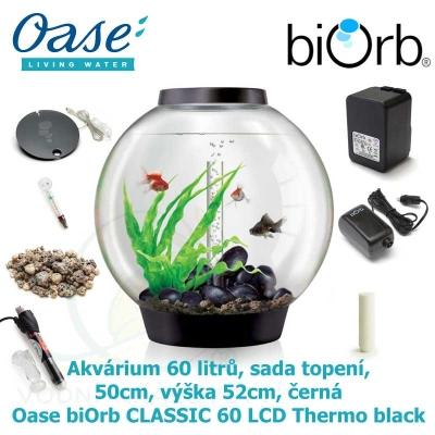 Akvárium 60 litrů, průměr 50cm, výška 52cm, černá - Oase biOrb CLASSIC 60 LED Thermo black