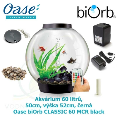 Akvárium 60 litrů, průměr 50cm, výška 52cm, černá - Oase biOrb CLASSIC 60 MCR black