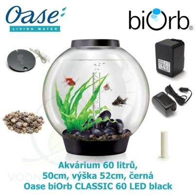 Akvárium 60 litrů, průměr 50cm, výška 52cm, černá - Oase biOrb CLASSIC 60 LED black