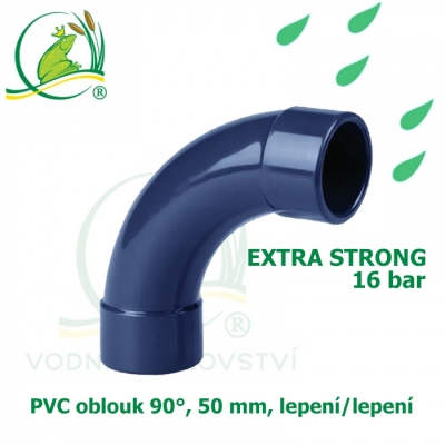 PVC spojka oblouk 50 mm, 90°, 16 bar, extra strong