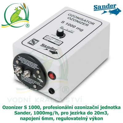 Ozonizer S 1000, profesionální ozonizační jednotka Sander, 1000mg/h, pro jezírka do 20m3, napojení 6mm, regulovatelný výkon