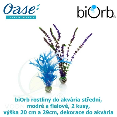biOrb rostliny do akvária střední, modré a fialové, 2 kusy, výška 20 cm a 29cm, dekorace do akvária