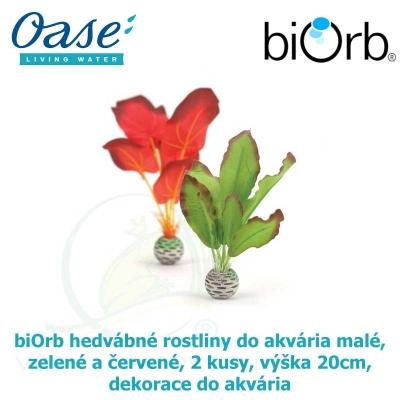biOrb hedvábné rostliny do akvária malé, zelené a červené, 2 kusy, výška 20cm, dekorace do akvária