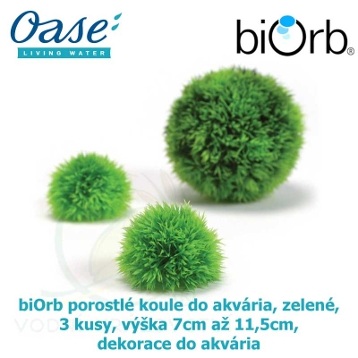 biOrb porostlé koule do akvária, zelené, 3 kusy, výška 7cm až 11,5cm, dekorace do akvária