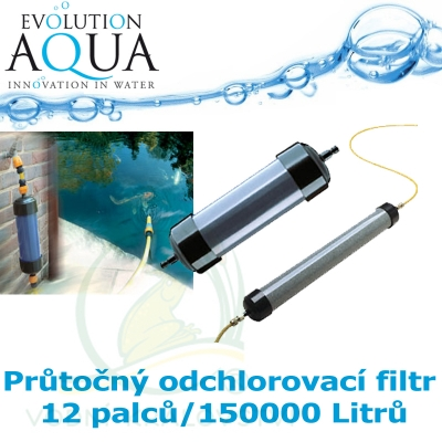 Průtočný odchlorovací filtr 12 palců - 150000 Litrů.