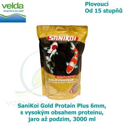 SaniKoi Gold Protain Plus 6mm, s vysokým obsahem proteinu, jaro až podzim, 3000 ml