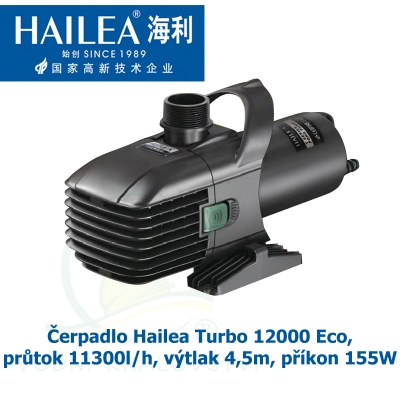 Čerpadlo Hailea Turbo 12000 Eco, průtok 11300l/h, výtlak 4,5m, příkon 155W