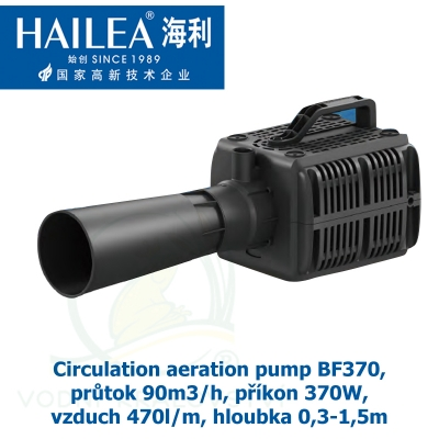 Circulation aeration pump BF370, průtok 90m3/h, příkon 370W, vzduch 470l/m, hloubka 0,3-1,5m