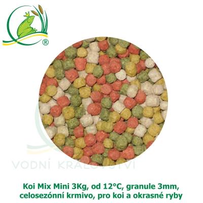 Koi Mix Mini 3Kg, od 12°C, granule 3 mm, celosezónní krmivo, pro malé koi a menší okrasné ryby