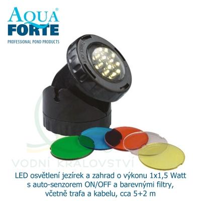 LED osvětlení jezírek a zahrad o výkonu 1x1,5 Watt s auto-senzorem ON/OFF a barevnými filtry, včetně trafa a kabelu, cca 5+2 m