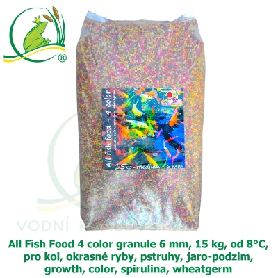 All Fish Food 4 color granule 6 mm, 15 kg, od 8°C, pro koi, okrasné ryby, pstruhy, jaro-podzim, growth, color, spirulina, wheatgerm