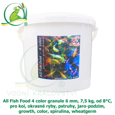 All Fish Food 4 color granule 6 mm, 7,5 kg, od 8°C, pro koi, okrasné ryby, pstruhy, jaro-podzim, growth, color, spirulina, wheatgerm