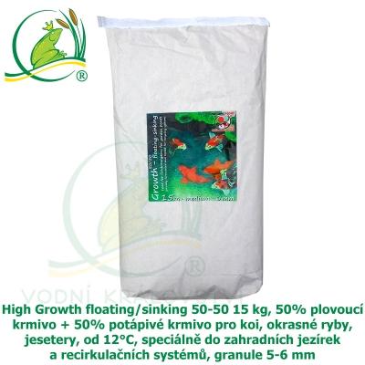 High Growth floating/sinking 50-50 15 kg, 50% plovoucí krmivo + 50% potápivé krmivo pro koi, okrasné ryby, jesetery, od 12°C, speciálně do zahradních jezírek a recirkulačních systémů, granule 5-6 mm