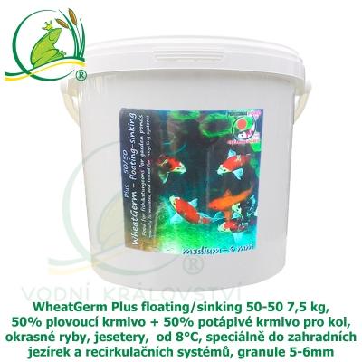 WheatGerm Plus floating/sinking 50-50 7,5 kg, 50% plovoucí krmivo + 50% potápivé krmivo pro koi, okrasné ryby, jesetery,  od 8°C, speciálně do zahradních jezírek a recirkulačních systémů, granule 5-6m