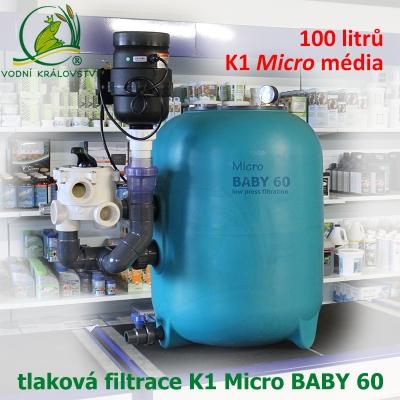 K1 Micro BABY EconoBead 60, nízkotlaká tlaková filtrace do 60 m3, 100 litrů K1 Micro