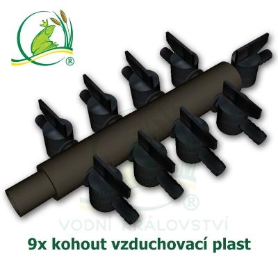 vzduchovací rozdvojka, kohout 9x, plastová