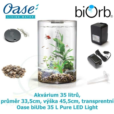 Akvárium 35 litrů, průměr 33,5cm, výška 45,5cm, transparentní  - Oase biUbe 35 L Pure LED Light